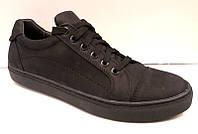 Слипоны-кеды мужские на шнуровке нубук/замша 0015КУМ