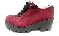 Женские туфли на платформе кожа/замша 0126УКМ