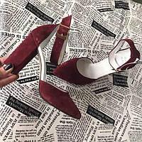 Женские туфли на высоком каблуке натуральные кожа/замша разные цвета 0025АВМ