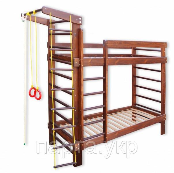 Кровать детская Спортивная для двоих в темном цвете