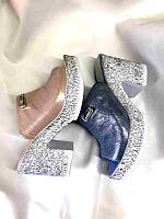 Шлепанцы женские сабо на каблуке кожа цвета разные 0024КОМ