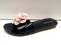 Шлепанцы женские силиконовые розовые черные 0445КФМ