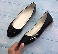 Балетки женские натуральные кожаные лаковые черные 0077АЛМ