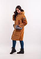 Пальто комбинированное зимнее размер 44-46, код 2950М