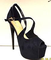 Босоножки женские на высоком тонком каблуке черные 0450КФМ