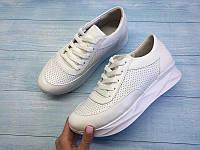 Кроссовки женские летние кожаные натуральные белые 0093АЛМ