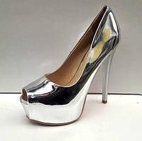Женские туфли на высоком каблуке с открытым носом кожа 0443УКМ