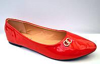 Балетки женские Chanel красные   0039 КФМ