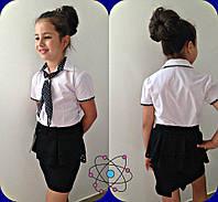 Блузка для девочки школьная с галстуком в горох синяя, черная