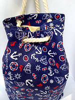 Пляжная текстильная летняя сумка рюкзак для пляжа и прогулок морской принт синий цвет