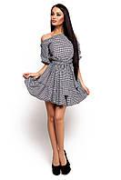 (S-M) Стильне сіре плаття в клітку Jenifer S-M