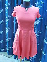 Платье с юбкой-клеш коралловое летнее из поликоттона , р.46 код 1474М