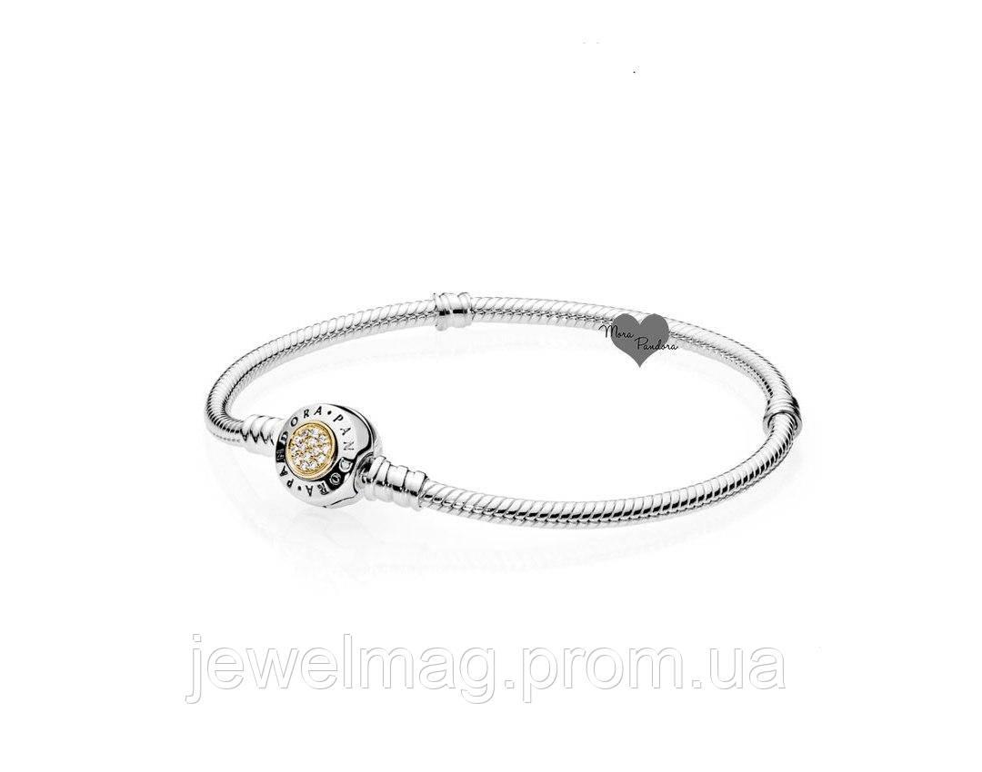 Основа для браслета Pandora с логотипом дополненный золотом 585 пробы, серебро 925 пробы
