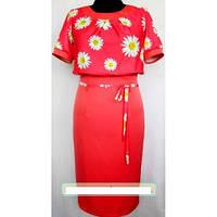Платье миди летнее (имитация костюма) шифоновый верх и коттоновый низ , р.52 код 1476М