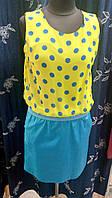 Платье летнее в горох (имитация костюма) шифоновый верх и коттоновый низ , р.48 код 4409М
