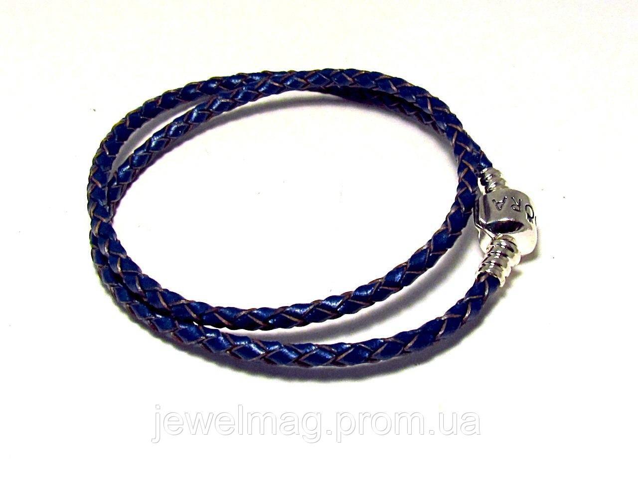 Кожаный браслет Пандора синий с перламутром