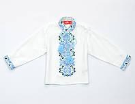 Сорочка-вышиванка для маленького мальчика с длинным рукавом белая с синей вышивкой