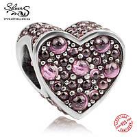 """Серебряная подвеска-шарм Пандора (Pandora) """"Розовое сверкающее сердце"""" для браслета"""