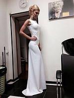 Длинное однотонное трикотажное платье в пол без рукавов