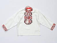 Вышиванка для мальчика с длинным рукавом белая с красно-черной вышивкой р.116