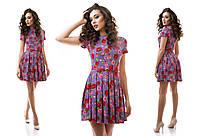 Креповое летнее платье со складками с пояском в комплекте