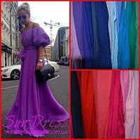 Шифоновое длинное  платье в пол с расклешенной юбкой и спущенными пышными рукавами