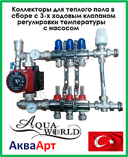 Коллекторы aquaworld для теплого пола в сборе с 3-х ходовым термостатическим клапаном и насосом