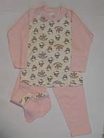 Пижама бело-розовая с пингвинами