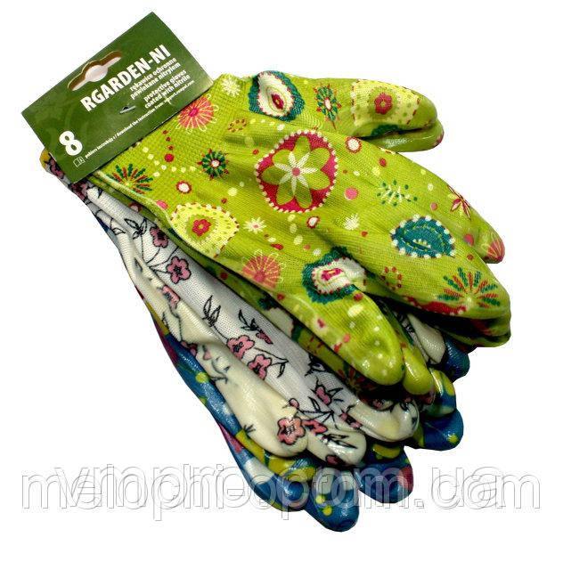 Перчатки цветные трикотажные,прорезиненные,(3 пары/упаковка), рабочие, хозяйственные, защитные, садовые