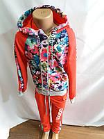 Детский спортивный костюм  трикотаж на девочку коралловый в цветочек (р.от 6 до 12 лет) купить оптом