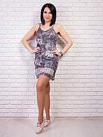 Короткое летнее платье из ткани супрем, цвет: черный джинс