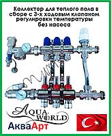 Коллектор для теплого пола AquaWorld на 4 контура в сборе без насоса с трехходовым термостатическим клапаном