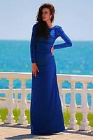 Длинное однотонное платье в пол с длинными рукавами