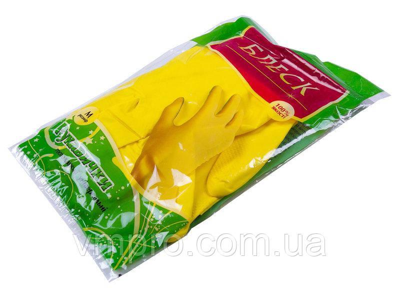 """Перчатки хозяйственные,""""Блеск"""", размер M, латексные, защитные,бытовые"""