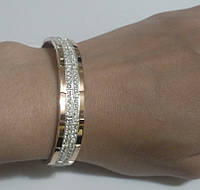 Браслет из серебра и золота с цирконом Ненси, фото 1