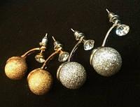 Удлиненные сережки матрешки, пусеты стиля Dior (золото, серебро)