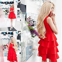 Платье нарядное Материал: креп ,голубой, пудра, бежевый, черный, красный Длина изделия: 85 см. аалек№0145