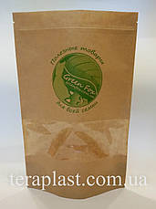 Пакет Дой-Пак крафт с окном 140х240 с логотипом 1 цвет, фото 2