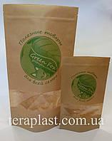 Пакет Дой-Пак крафт с окном 140х240 с логотипом 1 цвет
