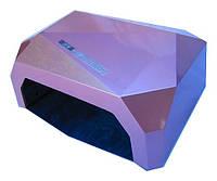 Лампа гибрид CCFL+LED UV 36 W  для ГЕЛЯ и ГЕЛЬ-ЛАКА многогранник дно на магнитах нежно розовая