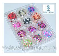 Набор для декора, дизайна ногтей конфети 12шт упаковка