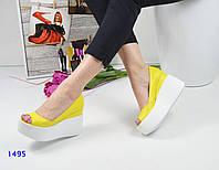 Женские туфли на легкой танкетке 10 см, кожаные, желтые /  туфли женские, модные