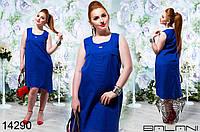 Летнее женское льняное платье большого размера 48-54
