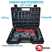 "Набор инструмента 1/4"" и 1/2"" 108 ед. 6 граней ЕТ-6108 INTERTOOL"