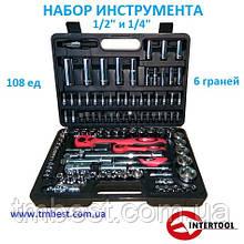 "Набір інструменту 1/4"" і 1/2"" 108 од. 6 граней ЕТ-6108 INTERTOOL"