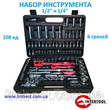 "Набор инструмента 1/4"" и 1/2"" 108 ед. 6 граней ЕТ-6108 INTERTOOL бесплатная доставка"