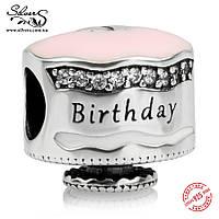 """Серебряная подвеска-шарм Пандора (Pandora) """"Именинный торт"""" для браслета"""