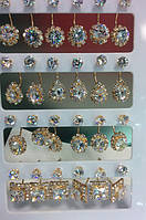 Удлиненные сережки матрешки, стиля Dior камни