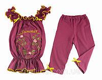 Летний комплект для девочки. Шорты и блуза. На рост 98-104