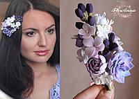 """""""Стильный аромат"""" заколка с цветами из полимерной глины . Дизайнерские украшения. Цветы в прическу"""